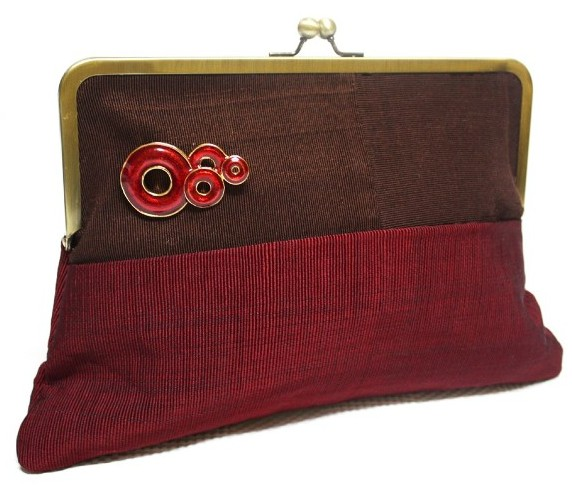 Maroon and Chocolate Super Snap clutch